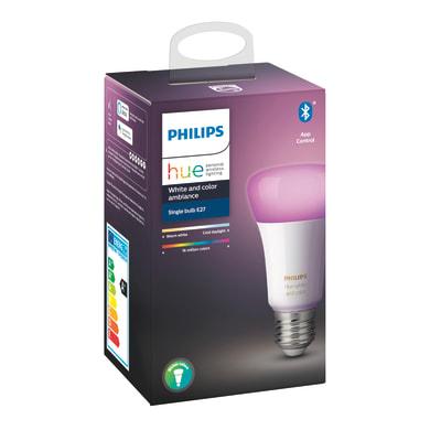 Lampadina collegato LED, E27, Goccia, Trasparente, RGB, 9W=806LM (equiv 60 W), 150° , PHILIPS HUE