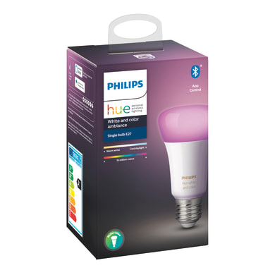 Lampadina smart lighting LED, HUE COLOR BLUETOOTH, E27, Goccia, Trasparente, RGB, 9W=806LM (equiv 60 W), 150° , PHILIPS HUE