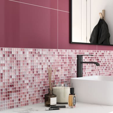 Mosaico Tonic Prune H 30 x L 30 cm rosso