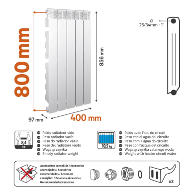 Radiatore acqua calda EQUATION Equation 800/100 5el in alluminio 5 elementi interasse 80 cm
