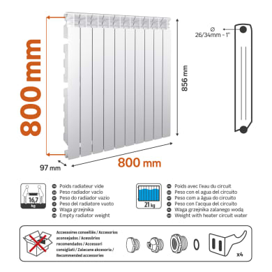 Radiatore acqua calda EQUATION Equation 800/100 10el in alluminio 10 elementi interasse 80 cm