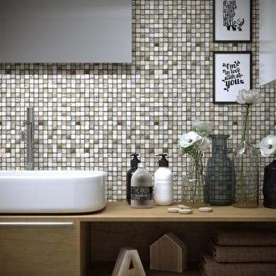 Mosaico Extra White H 30 x L 30 cm bianco/argento