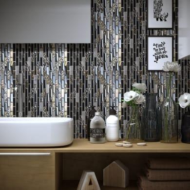 Mosaico Acero Black H 30 x L 30 cm nero acciaio
