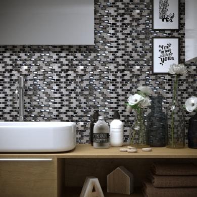 Mosaico Mini Brick Black H 30 x L 30 cm nero acciaio