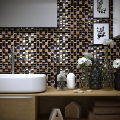 Mosaico Vertical Freedom Brown H 30 x L 30 cm marrone /oro
