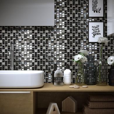 Mosaico Vertical Freedom Black H 30 x L 30 cm nero acciaio