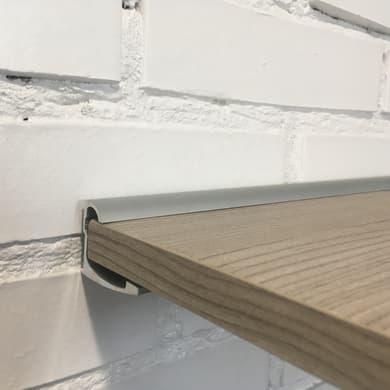 Reggimensola a binario in alluminio H 3.5 cm grigio / argento
