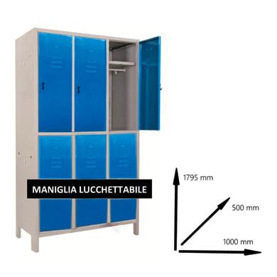 Armadio Spogliatoio Monoblocco L 100 x P 50 x H 179.5 cm blu e grigio