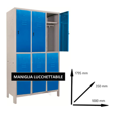 Armadio Monoblocco L 100 x P 35 x H 179.5 cm blu e grigio