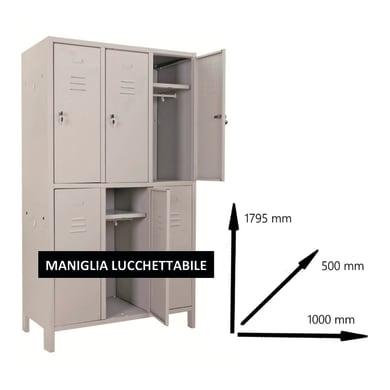 Armadio Spogliatoio Monoblocco L 100 x P 50 x H 179.5 cm grigio