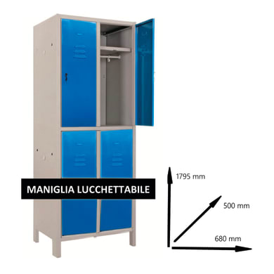 Armadio Spogliatoio Monoblocco L 68 x P 50 x H 179.5 cm blu e grigio