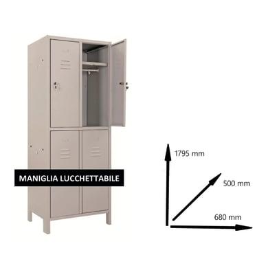 Armadio Monoblocco L 68 x P 50 x H 179.5 cm grigio