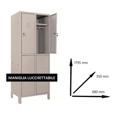 Armadio Monoblocco L 68 x P 35 x H 179.5 cm grigio