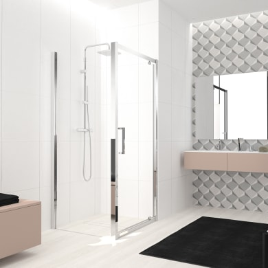 Box doccia angolare con porta a battente e lato fisso rettangolare Lead 100 x 70 cm, H 200 cm in vetro temprato, spessore 8 mm trasparente cromato