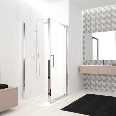 Box doccia angolare con porta a battente e lato fisso rettangolare Lead 90 x 70 cm, H 200 cm in vetro temprato, spessore 8 mm trasparente cromato