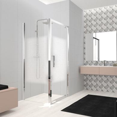 Box doccia angolare con porta a battente e lato fisso rettangolare Lead 90 x 70 cm, H 200 cm in vetro temprato, spessore 8 mm serigrafato cromato