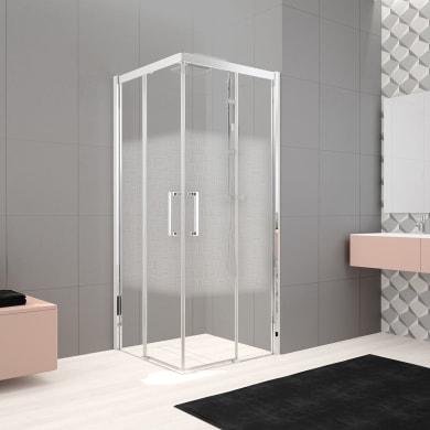 Box doccia rettangolare scorrevole Lead 120 x 90 cm, H 200 cm in vetro temprato, spessore 8 mm serigrafato cromato