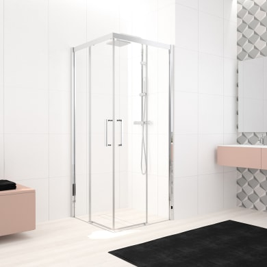 Box doccia rettangolare scorrevole Lead 120 x 70 cm, H 200 cm in vetro temprato, spessore 8 mm trasparente cromato