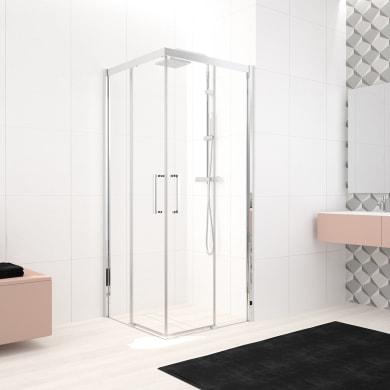 Box doccia rettangolare scorrevole Lead 120 x 90 cm, H 200 cm in vetro temprato, spessore 8 mm trasparente cromato