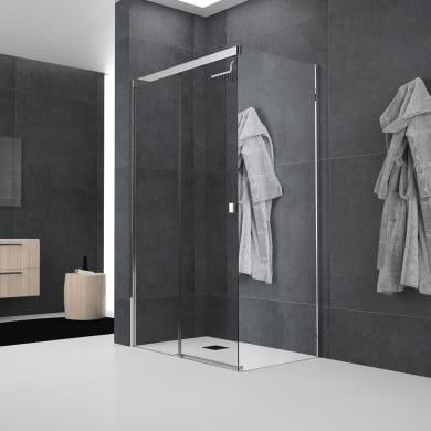 Box doccia angolare porta scorrevole e lato fisso rettangolare Glam 140 x 70 cm, H 200 cm in vetro temprato, spessore 6 mm trasparente argento