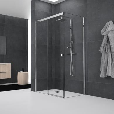 Box doccia angolare porta scorrevole e lato fisso rettangolare Glam Plus 140 x 70 cm, H 200 cm in vetro temprato, spessore 6 mm trasparente cromato
