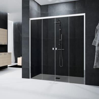Porta doccia scorrevole Glam 180 cm, H 200 cm in vetro temprato, spessore 6 mm fumé cromato