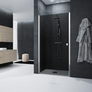 Porta doccia battente Glam 87 cm, H 201.7 cm in vetro temprato, spessore 6 mm fumé cromato