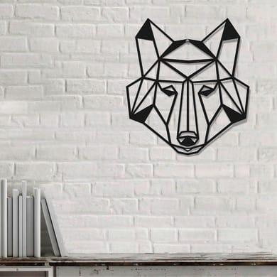Decorazione da parete Metal Lupo Nero 50x45 cm