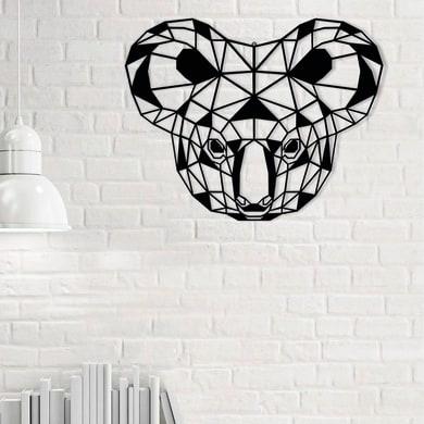 Decorazione da parete Metal Koala Nero 50x39 cm