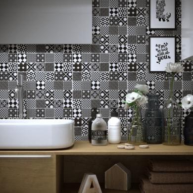 Mosaico Cementine Nera H 30 x L 30 cm bianco