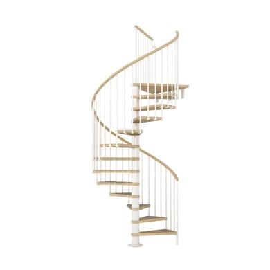 Scala a chiocciola tonda Ring FONTANOT L 138 cm, gradino faggio naturale, struttura bianco