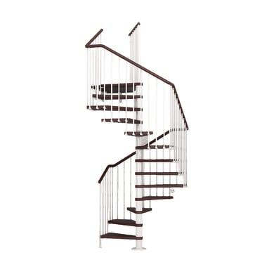 Scala a chiocciola quadrata Cube FONTANOT L 138 cm, gradino faggio scuro, struttura bianco
