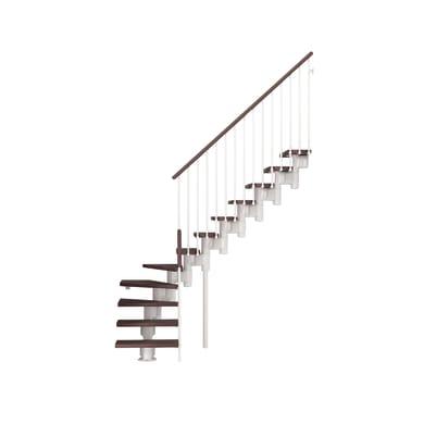 Scala a rampa 1/4 di giro Long FONTANOT L 65 cm, gradino faggio scuro, struttura bianco