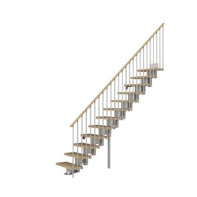 Scala a rampa dritto Long FONTANOT L 65 cm, gradino faggio naturale, struttura cromato