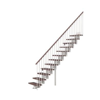 Scala a rampa dritto Long FONTANOT L 65 cm, gradino faggio scuro, struttura cromato
