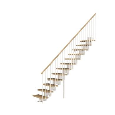 Scala a rampa dritto Long FONTANOT L 75 cm, gradino faggio naturale, struttura bianco