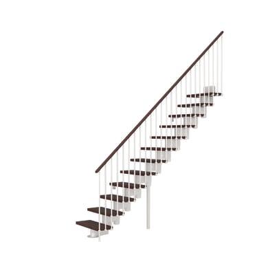 Scala a rampa dritto Long FONTANOT L 90 cm, gradino faggio scuro, struttura bianco