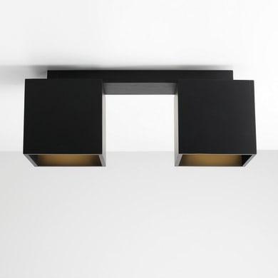 Lampadario Moderno Norma nero in metallo, L. 12 cm, 2 luci