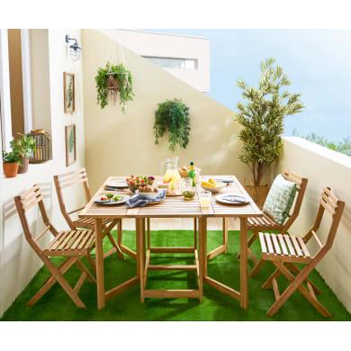 Set tavolo e sedie NATERIAL in acacia marrone 4 posti