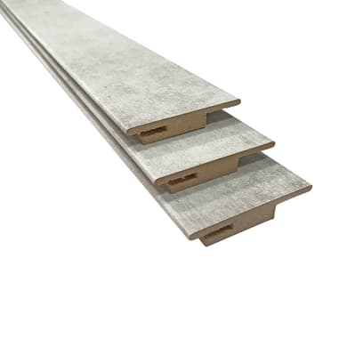Kit coprifilo in mdf spazzolato cemento L 225 x P 10 x H 50 mm