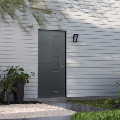 Porta blindata Smoking grigio L 90 x H 210 cm sinistra