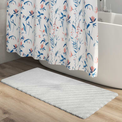 Tappeto bagno rettangolare Remix in cotone bianco 120 x 60 cm