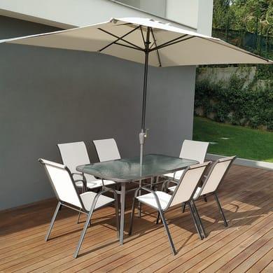 Set tavolo e sedie Oristano in acciaio bianco 6 posti