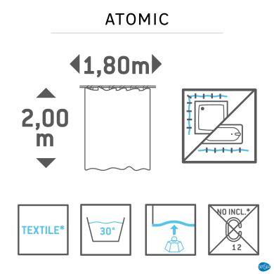 Tenda doccia Atomic Fossil Small in poliestere multicolre L 180 x H 200 cm