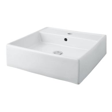 Lavabo da appoggio quadrato Sumba in ceramica L 46 x P 46 x H 14 cm bianco