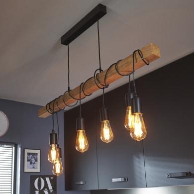 Lampadario Industriale Townshend marrone in metallo, D. 38 cm, L. 100 cm, 6 luci, EGLO