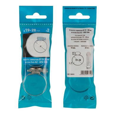 Collare stringitubo per tubatura Ø 19 x 12.7 mm 2 pezzi