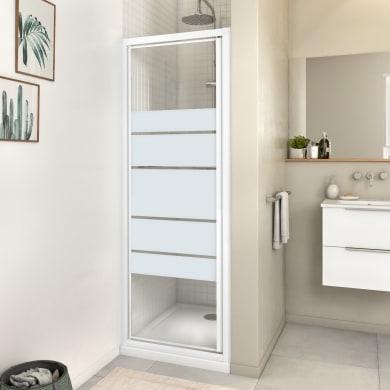Porta doccia battente Essential 70 cm, H 185 cm in vetro, spessore 4 mm serigrafato bianco