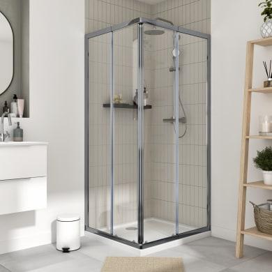 Box doccia rettangolare scorrevole Essential 70 x 100 cm, H 185 cm in vetro temprato, spessore 4 mm trasparente cromato