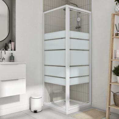 Box doccia angolare con porta a battente e lato fisso quadrato Essential 80 x 80 cm, H 185 cm in vetro temprato, spessore 4 mm serigrafato bianco